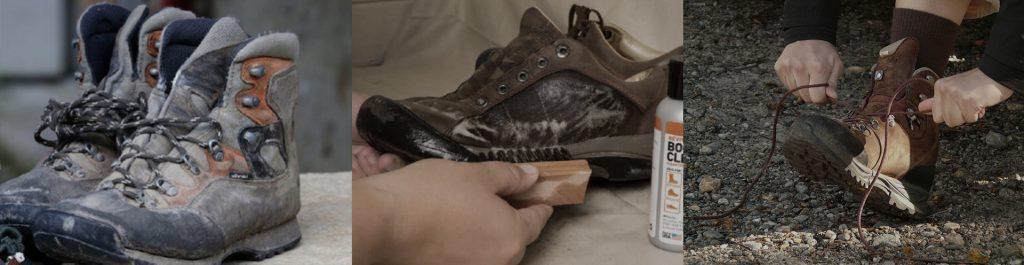 pulizia scarponi da montagna